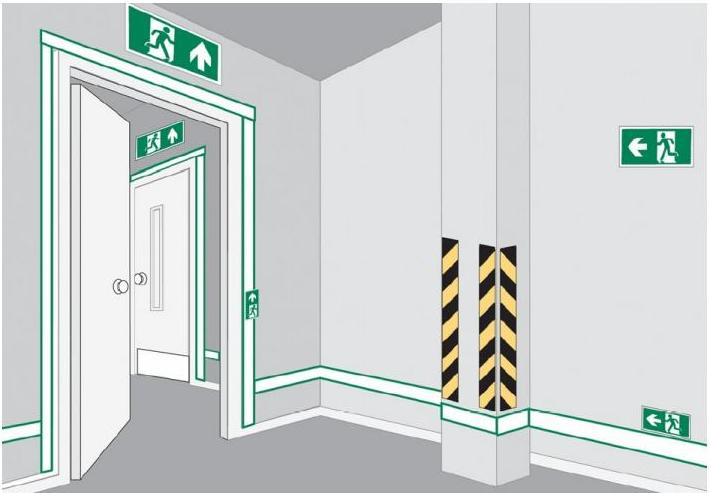 расположение эвакуационных знаков высота